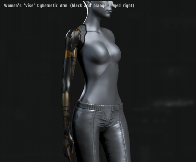 Women's 'Vise' Cybernetic Arm (black and orange ringed right).png