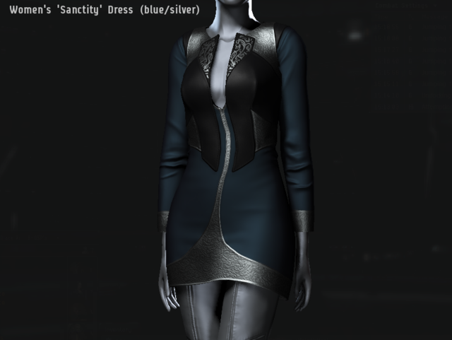 Women's 'Sanctity' Dress (blue・silver).png